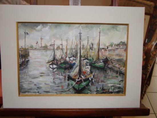 Entré du port d'Honfleur bateaux de peche 300 euros